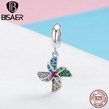 BISAER 925 Sterling Silver Windmill Tree of Life and Heart-shape Pendant Charm fit for Women Original Charms Bracelet HSC971 tree of life 925 sterling silver tree of life family tree charms beads fit bisaer charm bracelet diy beads 925 silver jewelry
