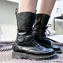 Punk Motorcycle Boots for Women Ankle Boots Lace-up Low Heels Black Genuine Leather Boots 2020 New Luxury Desinger Street Style(China)