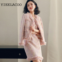 Pink Plaid Tweed jacket + sleeveless dress suit spring /autumn / winter women's jacket Business ladies 2 piece suit