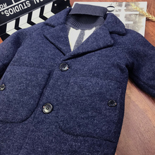 Boys' woolen coat foreign style coat 2020 children's long thick cotton padded coat