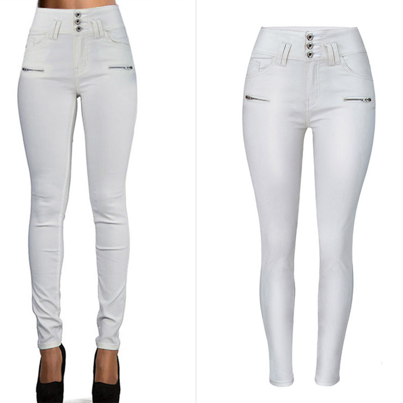 New 2020 High Waist Stretch PU Leather Pants For Women Joggers Women Trousers Plus Size White Pencil Skinny Waisted Female Pants