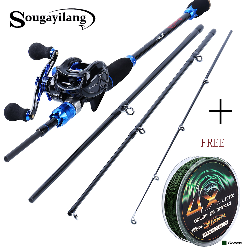 Sougayilang 2.1m Fishing Pole And Baitcasting Reel Combo Carbon 4 Sections Sea Casting Lure Rod And Casting Fishing Wheels Set