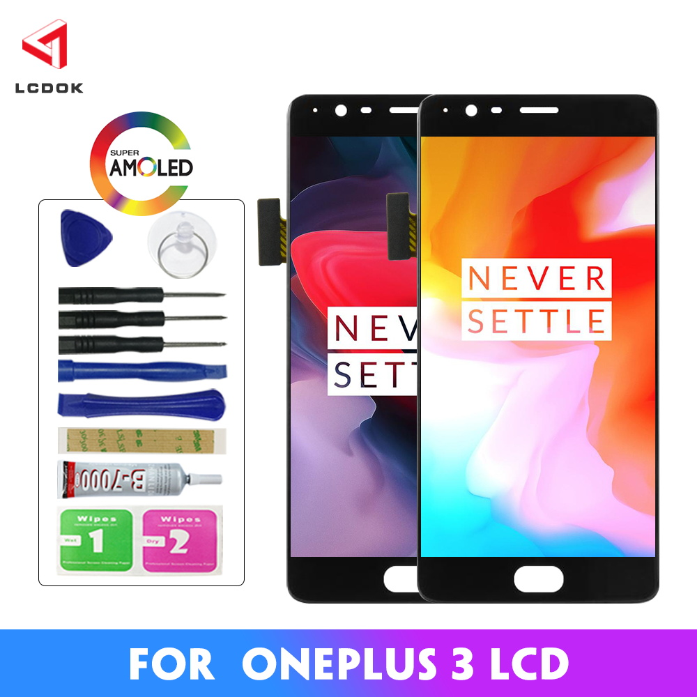AMOLED Display Für <font><b>Oneplus</b></font> <font><b>3T</b></font> Display LCD Touch <font><b>Screen</b></font> Ersatz Für <font><b>Oneplus</b></font> 3 Display <font><b>3T</b></font> LCD A3000 <font><b>A3003</b></font> digitizer Montage image