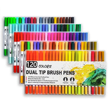120 Colors Dual Tip Brush Pens Watercolor Art Markers Double Head Fine liner Sketching Drawing Painting Calligraphy Anime Design