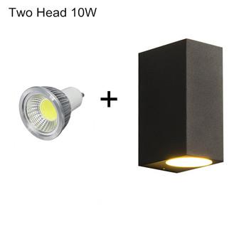 Podwójna głowica w górę iw dół zewnętrzna lampa LED Proch Light kinkiet lampa balkonowa dekoracja ogrodowa światło pasuje do żarówki Gu10 tanie i dobre opinie SEACAT CN (pochodzenie) Aluminium Pieczenia SC-OPL-5W 10W Bulb Replaceable IP65 85-265 v Kinkiety 2Years Nowoczesne Żarówki led