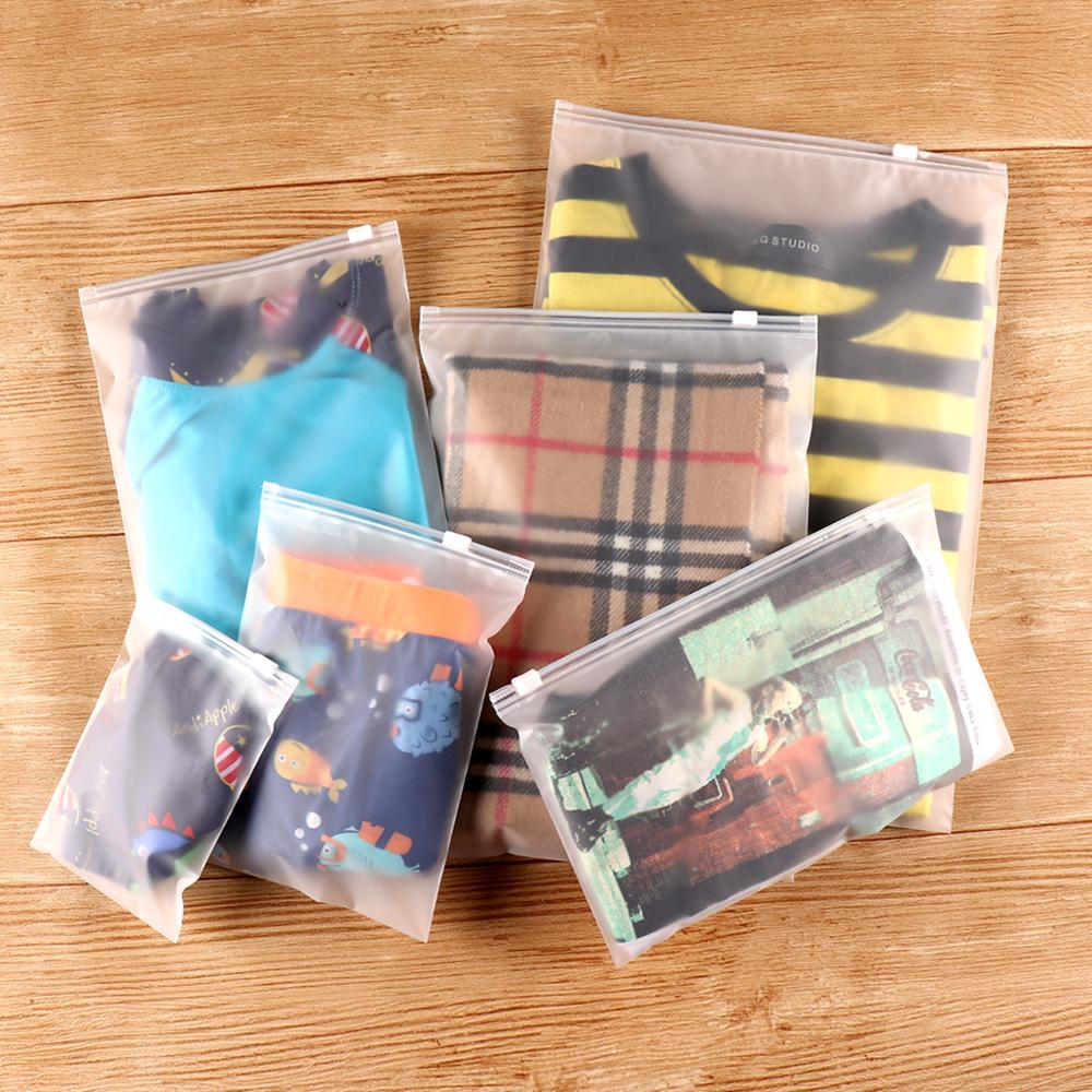 Plastic Bag Frosted Clear Zipper Seal Travel Bags Zip Lock Valve Slide Seal Packing Pouch For Clothing Storage 10 PC/Bag