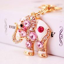 Keychain Cute Pendant Car-Accessories Animal Small Gifts Metal Bag Gem Zinc-Alloy Elephant