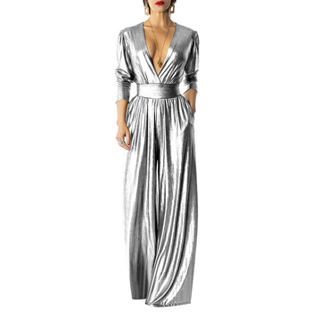 Adogirl Elegant Glitter Wide Leg Pants Jumpsuit Women Sexy Deep V Neck Long Sleeve Ruched with Pockets Party Romper Club Outfits 3