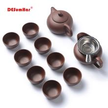 Ручной работы; Свадебная обувь с украшением глина чайный набор кунг-фу из исинской чайная посуда Чай горшок набор чашки, чайный набор из Керамика китайский чай пуэр из провинции Чай набор чайник