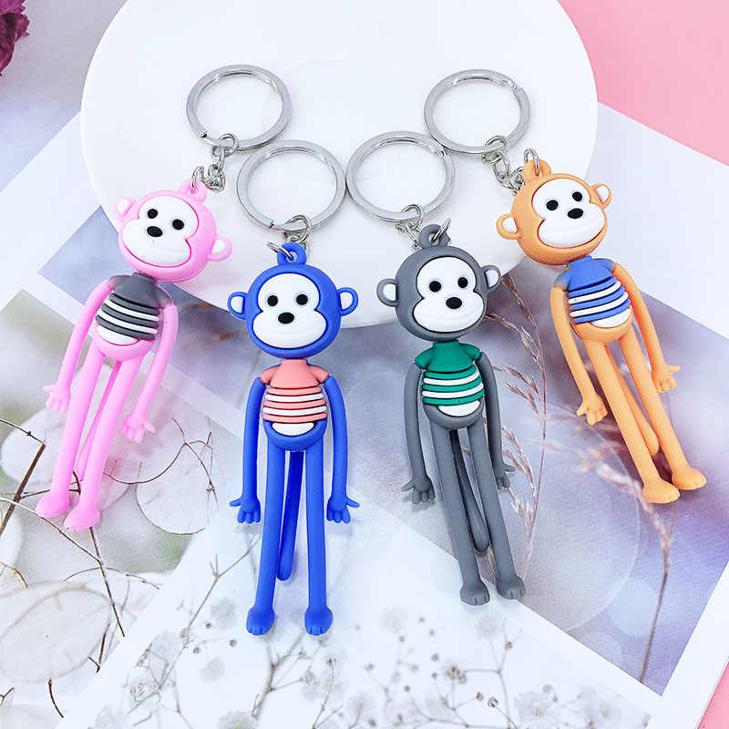 Nova criativa dos desenhos animados do PVC de pernas longas macaco chave saco chave do carro pingente anel menina enfeites de presente de aniversário das crianças