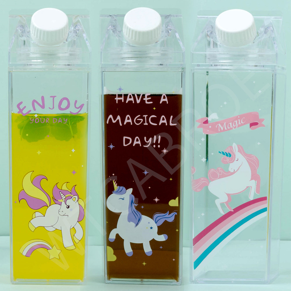 My 500ml Kids Cute Reusable Healthy Creative Milk Unicorn School Water Bottles Sport <font><b>Drinking</b></font> Bottle For Water Garrafa De Agua image