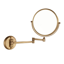 BAOLINLONG Vintage Brass Wall Mounted Finished Bathroom Mirror Accessories Distance Adjustable Makeup Dual Arm Extend