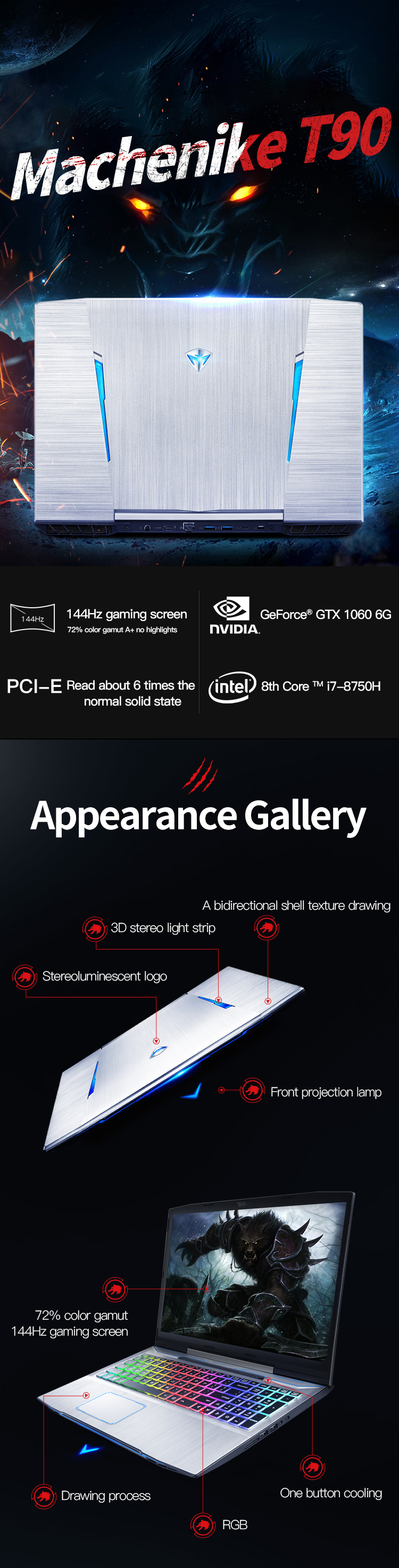 H15272100c3334fac967c117e15cedbd6e Machenike T90-T6C Gaming Laptop (Intel Core i7-8750H+GTX 1060 6G/8GB RAM/256G SSD/15.6'' 144Hz72%NTSC) Machenike-brande notebook