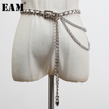 [EAM] Waist Chains Stylish Casual Braided Long Pu Leather Belt Personality Women New Fashion Tide All-match Spring 2020 1U266