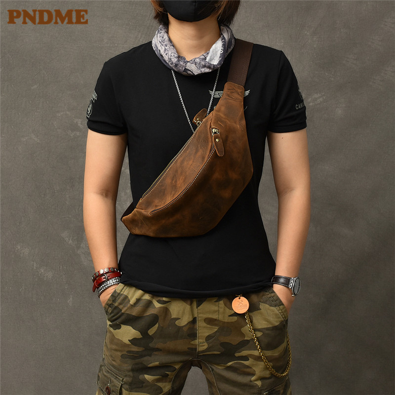 PNDME Vintage Crazy Horse Cowhide Men's Chest Bag Simple Genuine Leather Crossbody Bag Waist Pack Outdoor Daily Light Fanny Bag