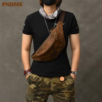 PNDMEvintage crazy horse cowhide men's chest bag simple genuine leather crossbody bag waist pack outdoor daily light fanny bag