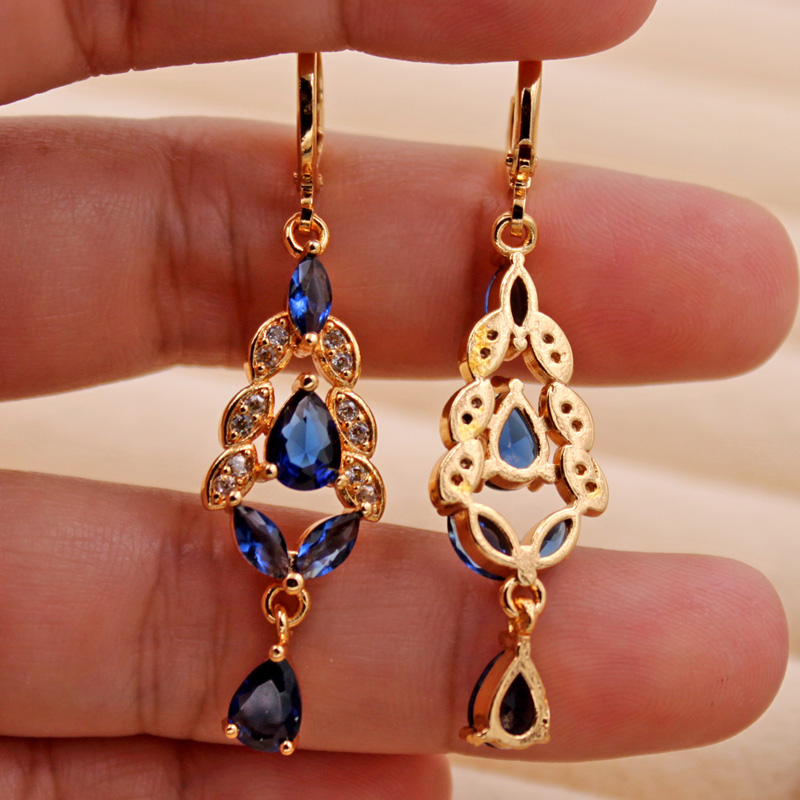H15277f0564114a03819cde2de457ddcaJ - Trendy Vintage Drop Earrings For Women Gold Filled  Red Green Pink Lavender Zircon Earrings Gold  Earring Wedding  Jewelry