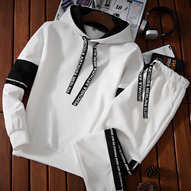 Spring And Autumn Men Leisure Set Men's Hooded Pullover Long-sleeved Sweater Korean-style Students Youth Sports Fashion-