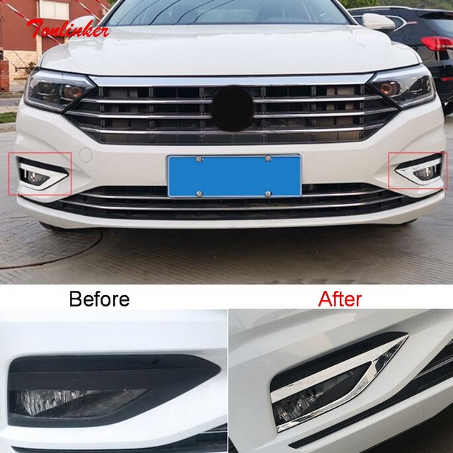 Tonlinker Exterior Front Fog light Cover Case Stickers for Volkswagen Jetta MK7 2019-20 Car Styling 2 PCS Metal Cover Stickers 1