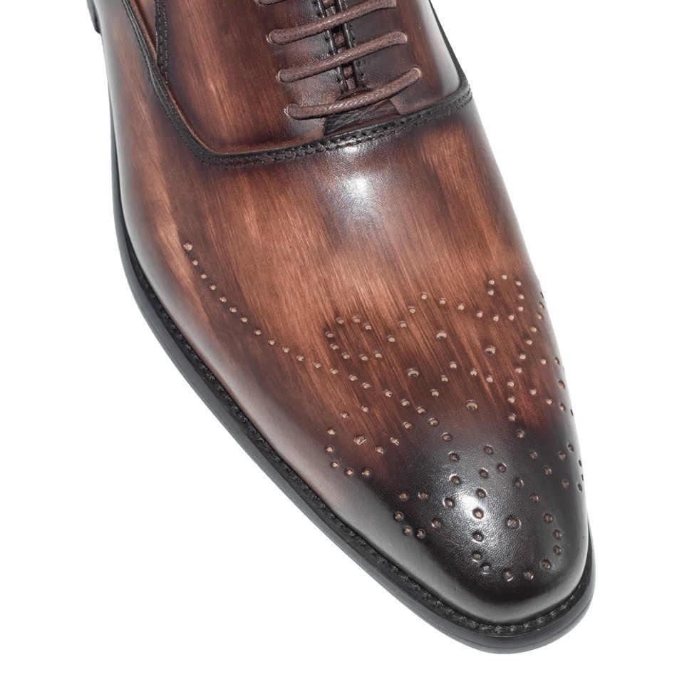 الرجال فستان أحذية جلدية مشبك حزام مكتب الأعمال الزفاف اليدوية مختلط اللون البروغ الرسمي أشار تو أوكسفورد حذاء رجالي