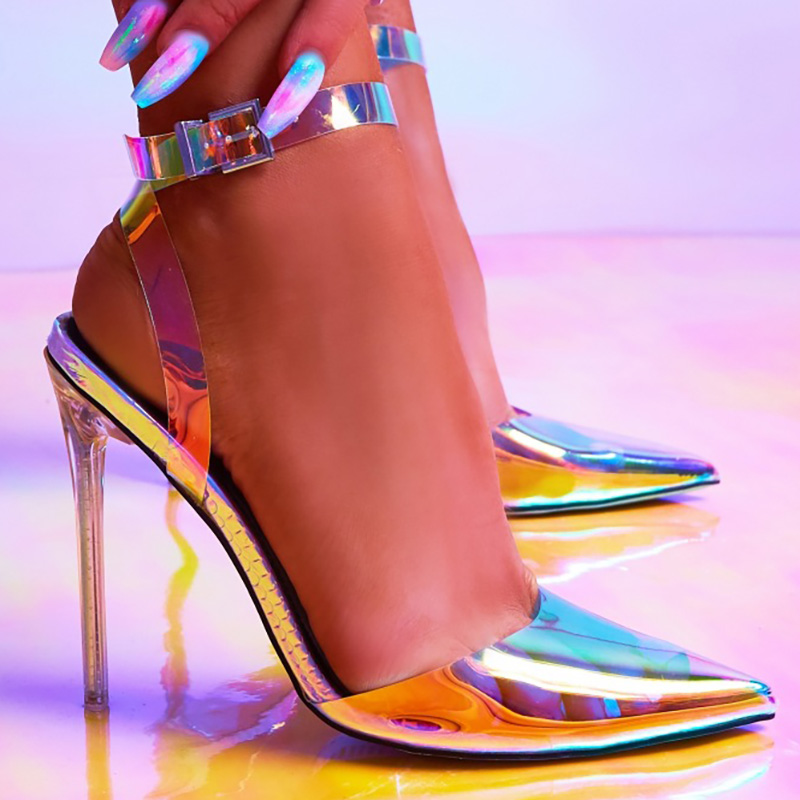 Heels Shoes Woman Sandals Women Shoes High Heels Transparent Summer Sandals PVC Ankle Strap Thin Heel Pumps <font><b>Sexy</b></font> Fashion Shoes image