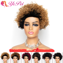 Short Curly Bob Wigs Brazilian Human Hair Wigs for Woman Remy Glueless Machine Made Wig Ombre Colored Wigs Yepei Hair
