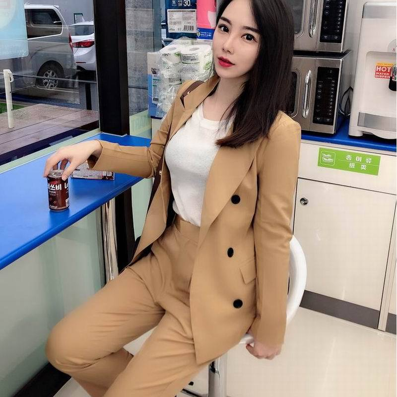 Casual Solid Color Ladies Suits Two-piece 2019 Autumn Long Sleeve Double-breasted Women's Jacket Slim Trouser Suit Office Sets