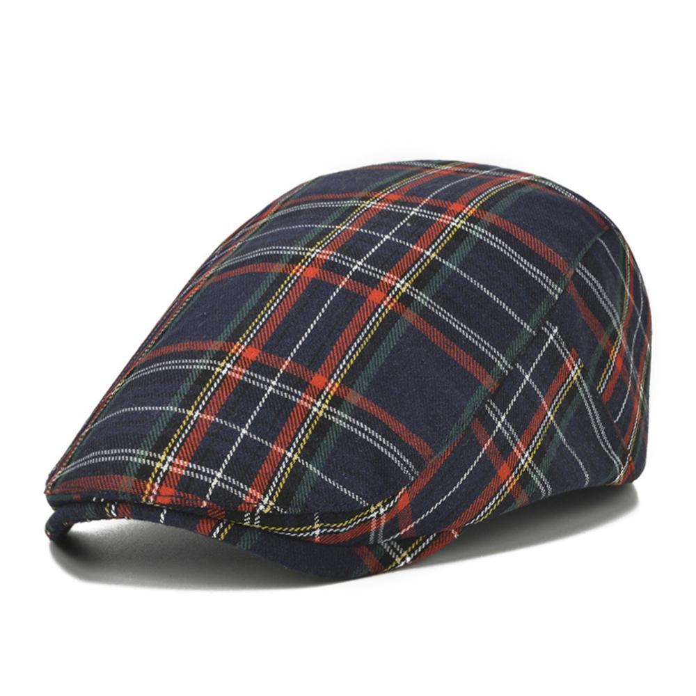 Унисекс на каждый день в клетку шапки-береты Смешанный хлопок шапки для весны, лета, осени