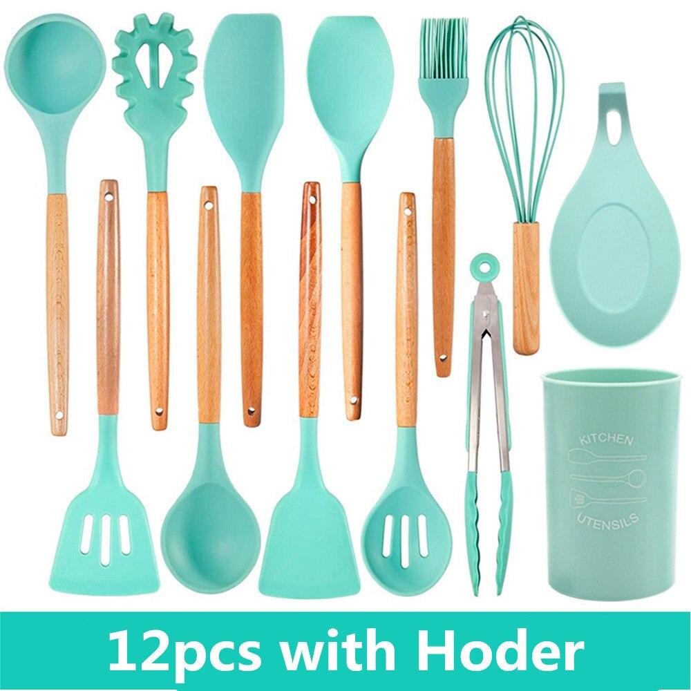 Kitchen Utensils Set Premium Quality Bamboo Holder Spoon Soup Ladle 11 Piece