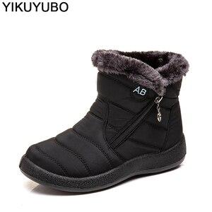 Image 5 - YIKUYUBO 2019 kobiet buty zimowe botki dla damskie buty ciepłe krótkie pluszowe wkładka kobiety zimowe płaskie z zamkiem błyskawicznym śnieg buty
