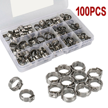100pcs/set Durable Ear Hose Clamps Stainless Steel Zinc Plated Hose Clamps Assortment Durable Clip Hoop Hose Clamp 140pcs double ear steel o clips clamps steel zinc plated assortment for hydraulic hose fuel o type pipe ear tube clamp