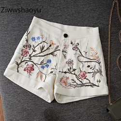 Ziwwshaoyu Fashion Summer Cotton + Linen Flower Embroidery High Waist Shorts Women's High Quality Clothing 2020 New