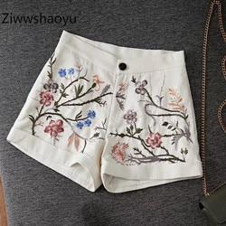 Ziwwshaoyu Mode Sommer Baumwolle + Leinen Blume Stickerei Hohe Taille Shorts frauen Hohe Qualität Kleidung 2020 Neue