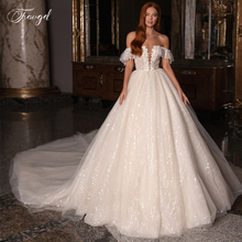 Traugel Strapless A Line Wedding Dresses Elegant Sequin Applique Off The Shoulder Bride Dress Chapel Train Bridal Gown Plus Size