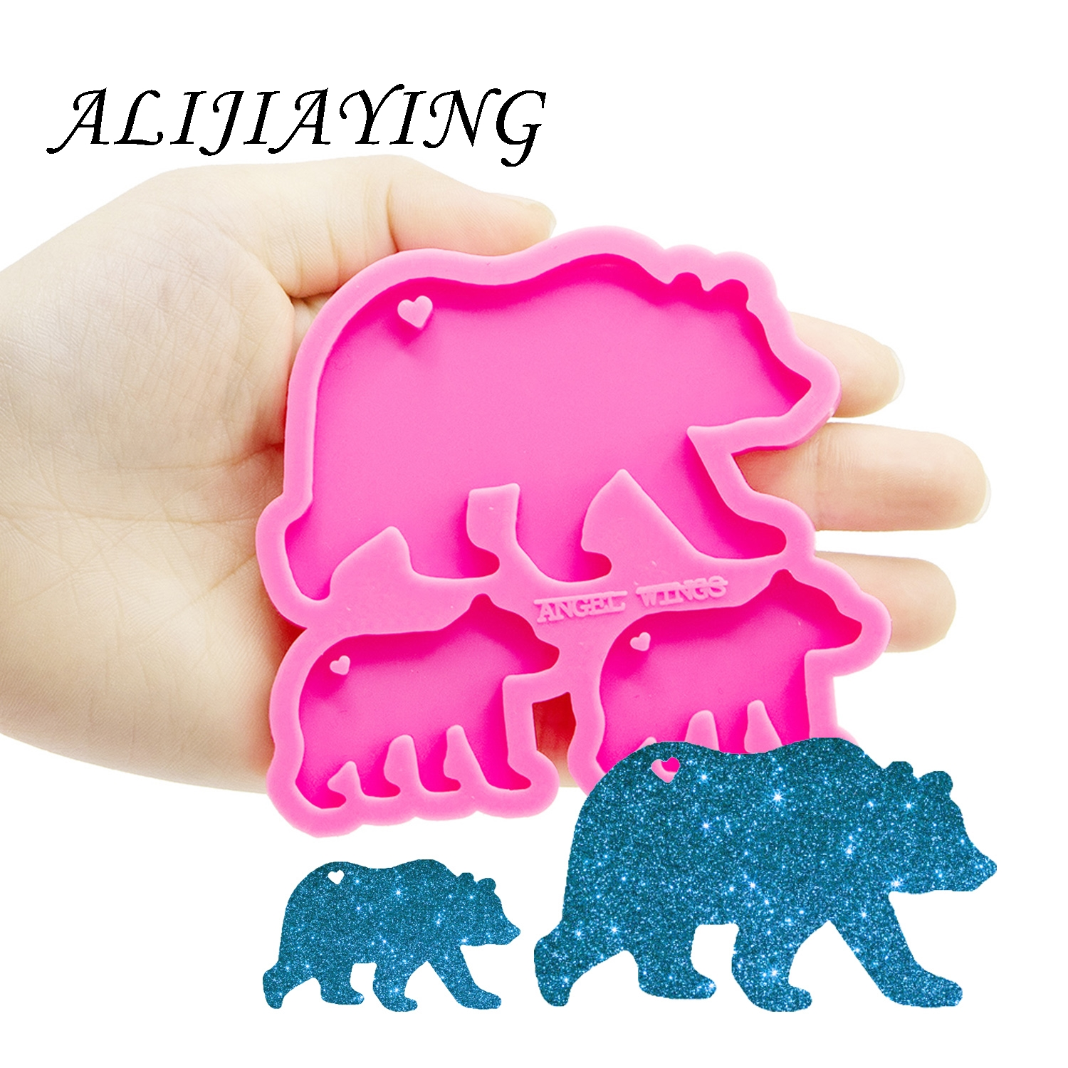 Bear Mother/baby Molds Silicone Keychain Mold For Resin Epoxy Craft  DIY Bear Family Shiny Keychains Jewelry Pendant DY0274
