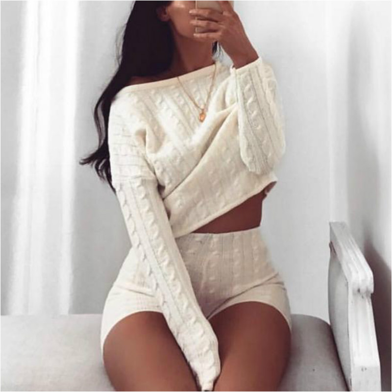 2020 Women Two Piece Set Knitted Long Sleeve Crop Tops And Bodycon Shorts Suit Sexy 2 Piece Set Women Outfits