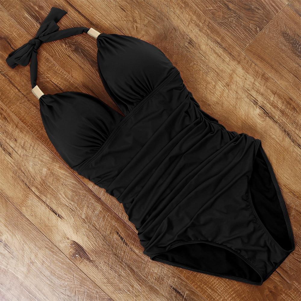 One Piece Tankini Plus Size Swimwear Women Black Halter Hot Monokini Swimsuit Push Up Bathing Suit Sexy 2021 High Waist Bodysuit