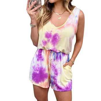 Tie-dye Playsuit Sleeveless Jumpsuit Women Casual Print Overalls Sportswear Playsuits Sexy Strap Rompers Summer Lounge Wear D30 casual tie strap playsuits in pink