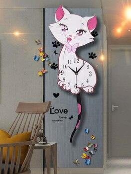 Cat clock wall clock sitting room creative modern simple fashion wall table personality atmosphere quartz clock wall watch