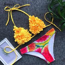 SWEETWOO High Cut Bathing Suit Brazilian Bikini Set 2020 Tropical Leaf Print Swimwear Women Sexy Swimsuit Female Summer Biquini цена 2017