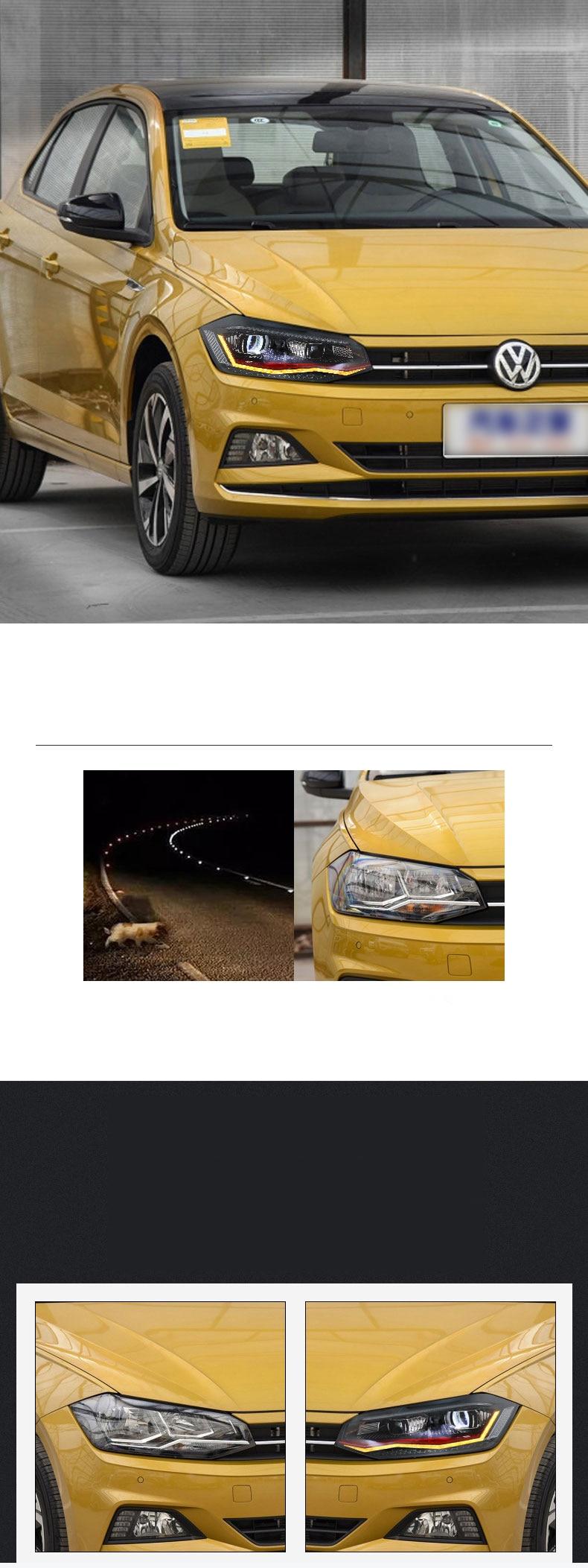 Автомобильный Стайлинг для VW Polo фары для VW Polo фары фара передняя Биксеноновая линза с двойным лучом