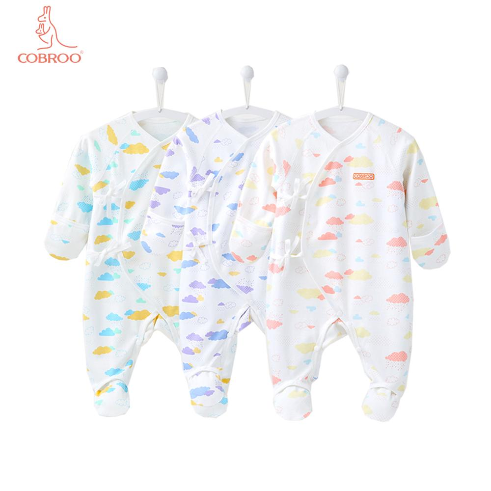 COBROO 3-Pack Baby Girl Footed Sleeper With Mittens 100% Cotton Allover Clouds Baby Girl Pajamas Set 0-3 Months