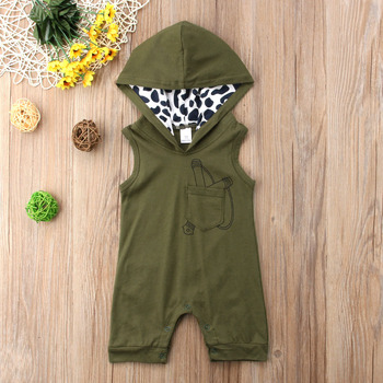 Toddler Baby Boy's Summer Sleeveless Jumpsuit Summer Fashion Pocket Stitching Hooded One Piece Short Rompers Infant Clothes image