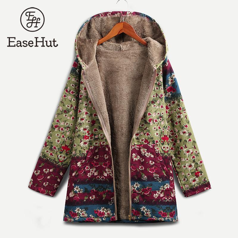 EaseHut femmes imprimé Floral veste manteau à capuche manches longues femme Vintage automne hiver lâche pardessus décontracté manteau femme hiver