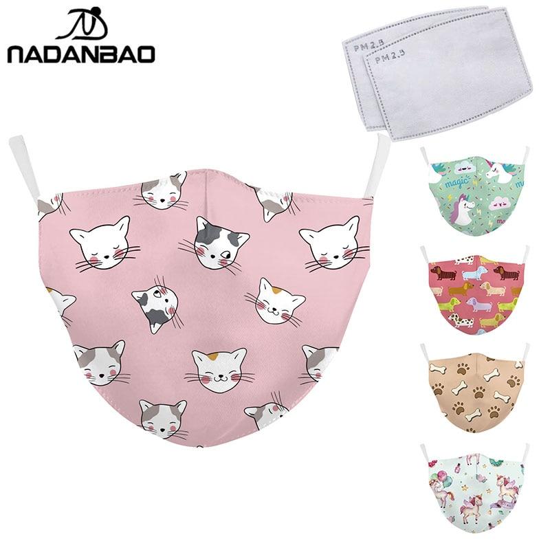 NADANBAO Cute Cat Print Kid's Mask Cartoon Unicorn Animal Face Masks Fabric Protective PM2.5 Washable Masks Washable Reusable