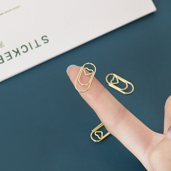 TUTU 50pcs /bag mini heart gold rose gold Color Clip Bookmark binder clip Office Accessories paper Clips Patchwork Clip H0481