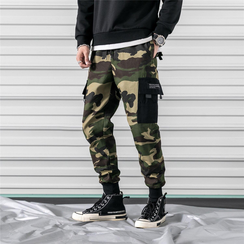 2019 Autumn Clothing-Camouflage Bib Overall Men's Casual Pants Men's Large Size Beam Leg Skinny Pants Big Goods Foot