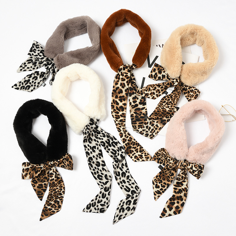 Chic Fur Scarf New Leopard Solid Print Girl Women Winter Scarf Luxury Brand Skinny Silk Ring Female Neckerchief Scarves Wraps