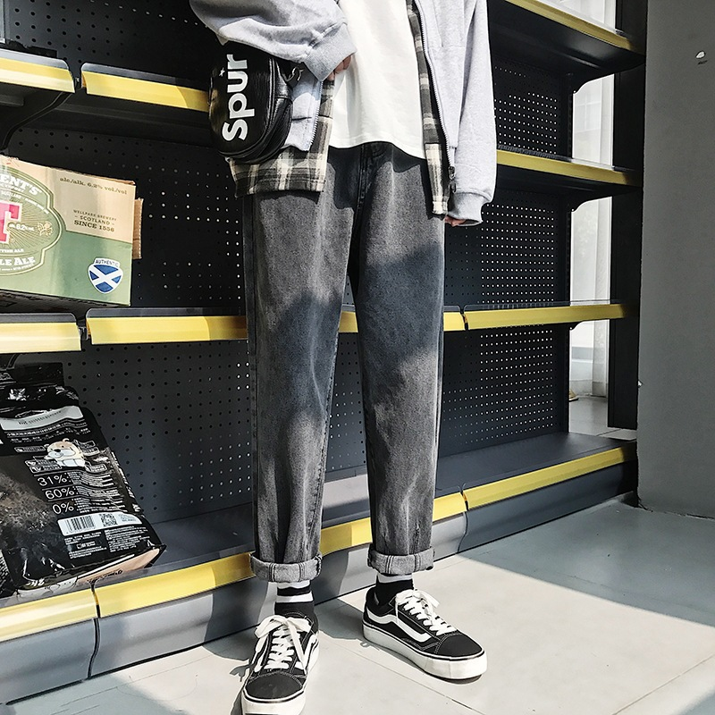 Harajuku Hong Kong Style Casual Versatile New Style 2018 Korean-style Slimming Trend Loose-Fit Students Autumn Cowboy Pants Men