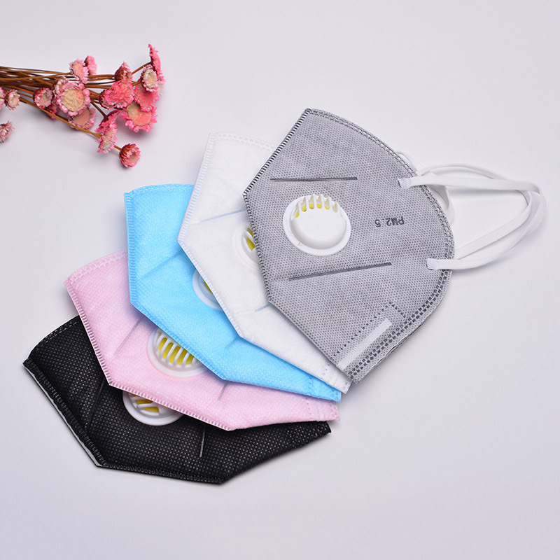 2 Pcs Folding Nonwoven Valved Mouth Mask PM2.5 Filter Breathing Anti-smog Anti-dust Mask Anti-odor Windproof Ear-hook Mask KZ001